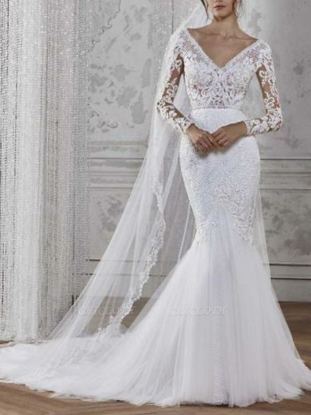 Mermaid \ Trumpet Wedding Dresses V Neck Court Train Lace Tulle Long Sleeve Boho Illusion Sleeve