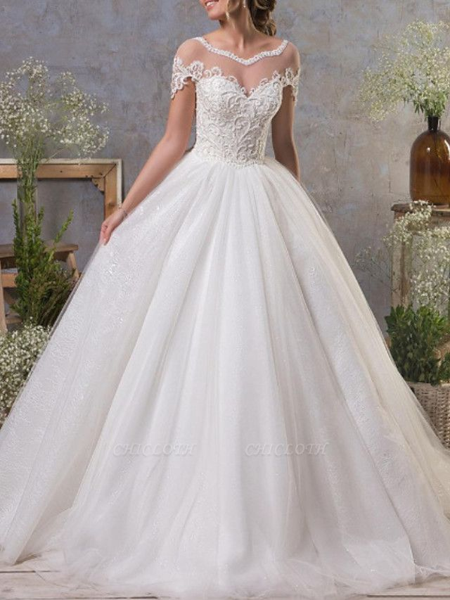 A-Line Wedding Dresses Jewel Neck Court Train Lace Tulle Short Sleeve Vintage Sexy See-Through Backless
