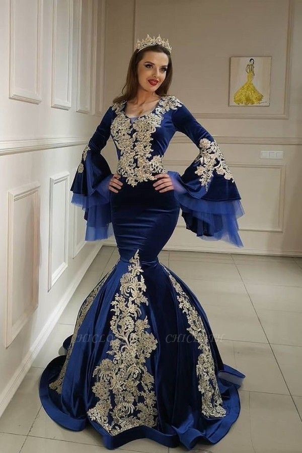ZY098 Blue Evening Dresses With Sleeves | Velvet Prom Dresses With Lace
