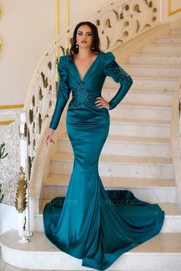 ZY092 Green Evening Dresses With Sleeves | Prom Dresses Long Cheap