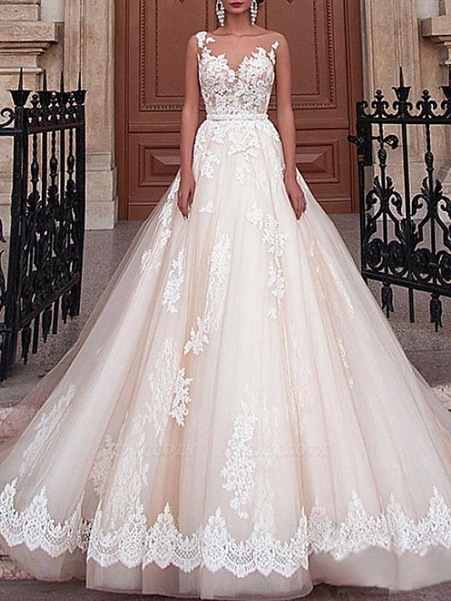 A-Line Wedding Dresses Jewel Neck Sweep \ Brush Train Lace Tulle Sleeveless Formal Sexy See-Through