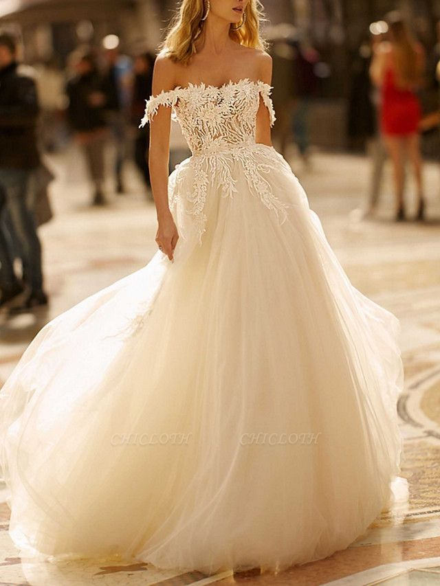A-Line Wedding Dresses Off Shoulder Sweep \ Brush Train Lace Tulle Cap Sleeve Boho Plus Size