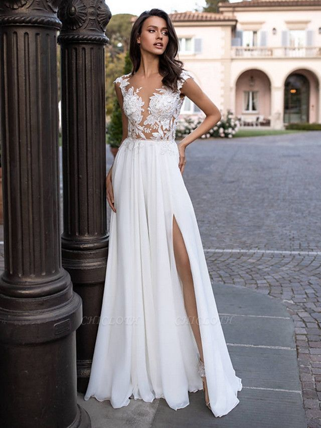 A-Line Wedding Dresses V Neck Sweep \ Brush Train Chiffon Lace Regular Straps Beach Sexy Illusion Detail Backless