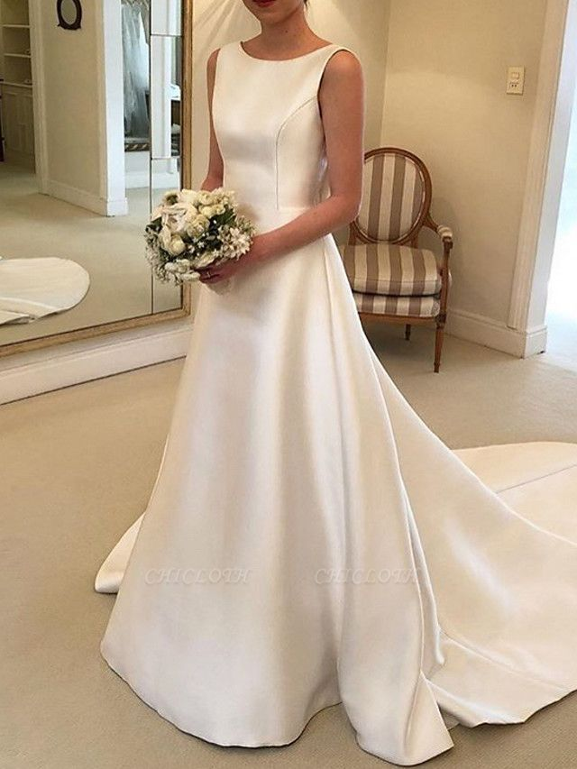 A-Line V Neck Court Train Satin Spaghetti Strap Formal Plus Size Wedding Dresses