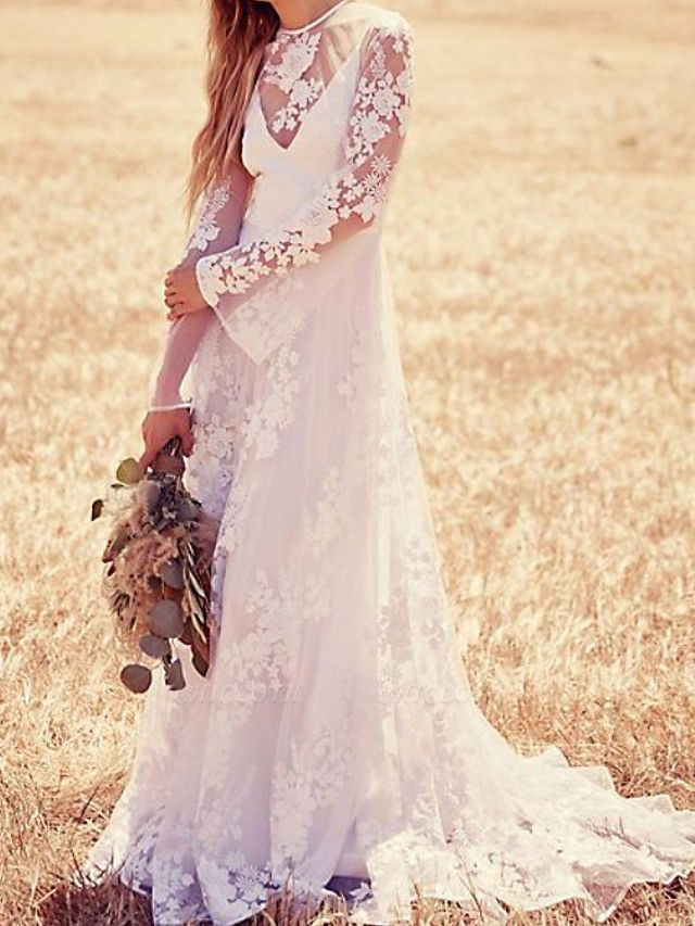 A-Line Jewel Neck Sweep \ Brush Train Lace Long Sleeve Beach Illusion Sleeve Wedding Dresses