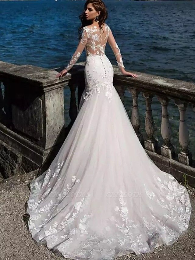 Mermaid \ Trumpet Wedding Dresses Bateau Neck Court Train Lace Tulle Lace Over Satin Long Sleeve Sexy See-Through Backless Illusion Sleeve