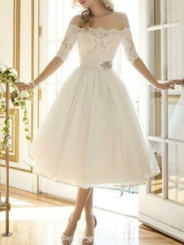 A-Line Wedding Dresses Off Shoulder Knee Length Lace Tulle Half Sleeve Country Vintage Plus Size