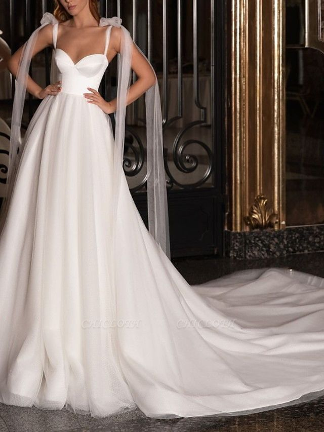 A-Line Wedding Dresses V Neck Spaghetti Strap Sweep \ Brush Train Satin Tulle Sleeveless Simple