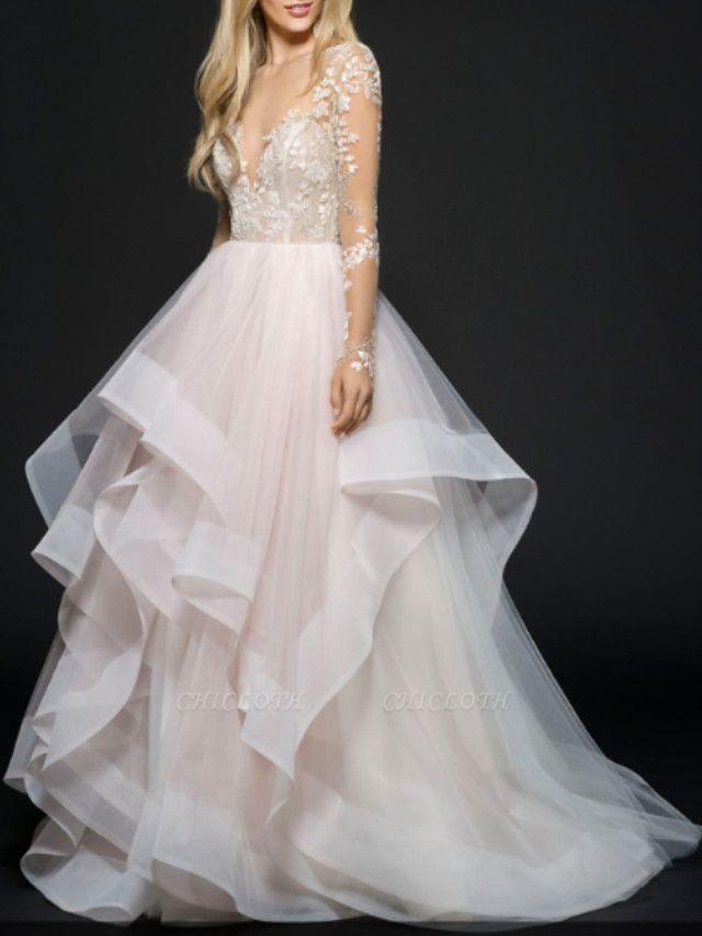 A-Line Wedding Dresses V Neck Floor Length Lace Tulle Long Sleeve Illusion Sleeve