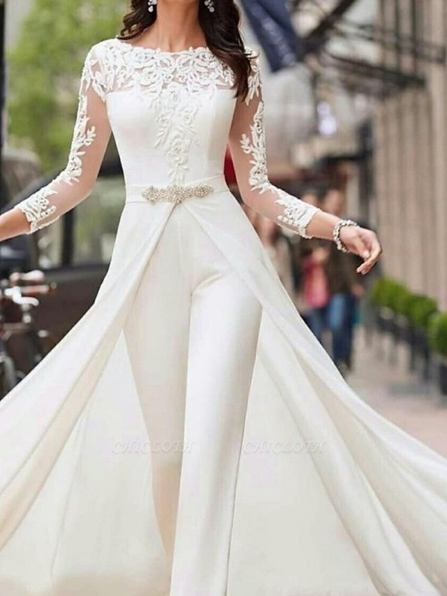 Two Piece Jumpsuits A-Line Wedding Dresses Jewel Neck Court Train Polyester Long Sleeve Formal Plus Size