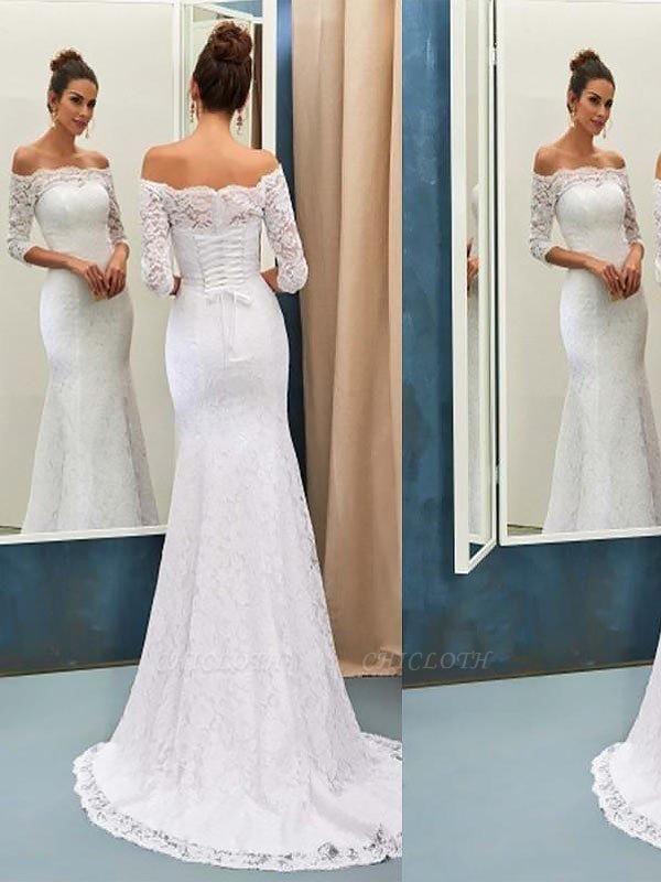 Off-the-Shoulder Lace Mermaid Long Sleeves Sweep Train Wedding Dresses