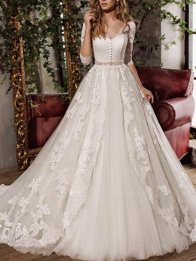 A-Line Wedding Dresses V Neck Sweep \ Brush Train Tulle 3\4 Length Sleeve Formal Plus Size Illusion Sleeve