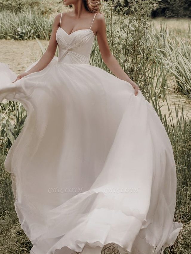 A-Line Wedding Dresses Spaghetti Strap Sweep \ Brush Train Silk Chiffon Over Satin Sleeveless Simple Beach