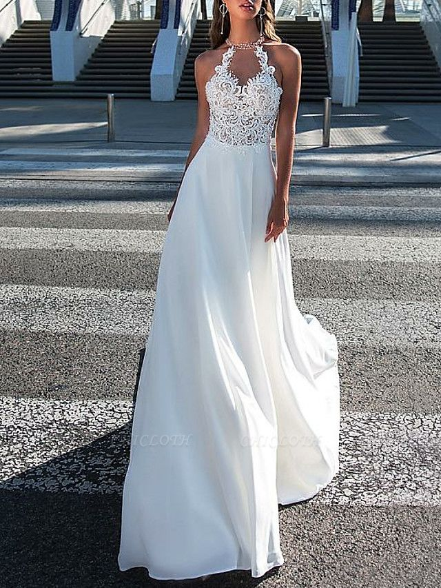 A-Line Wedding Dresses Halter Neck Sweep \ Brush Train Chiffon Strapless Romantic Boho Illusion Detail Backless