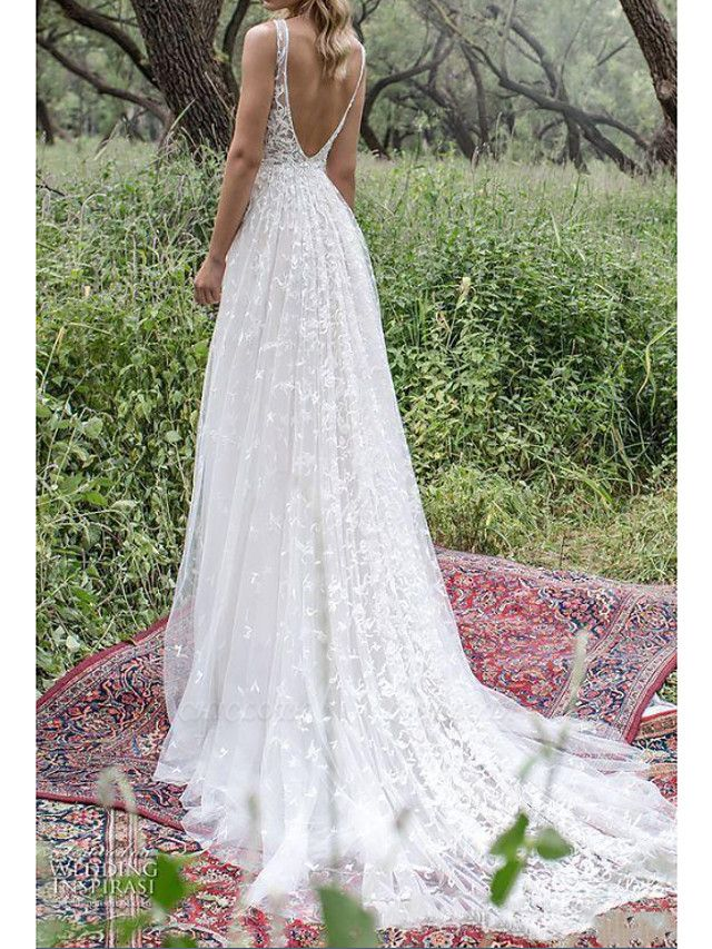 A-Line Wedding Dresses V Neck Sweep \ Brush Train Lace Tulle Sleeveless Country Plus Size