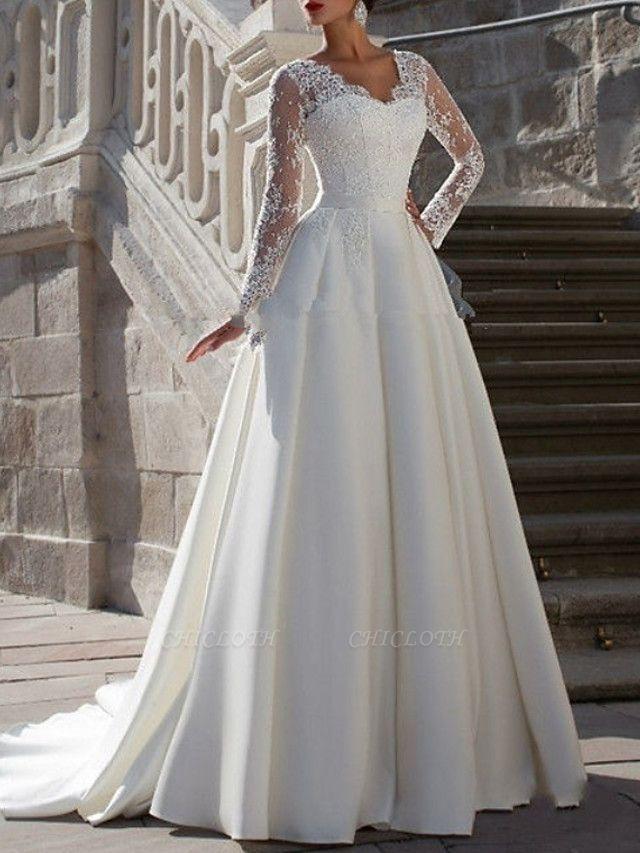 A-Line Wedding Dresses V Neck Sweep \ Brush Train Satin Long Sleeve