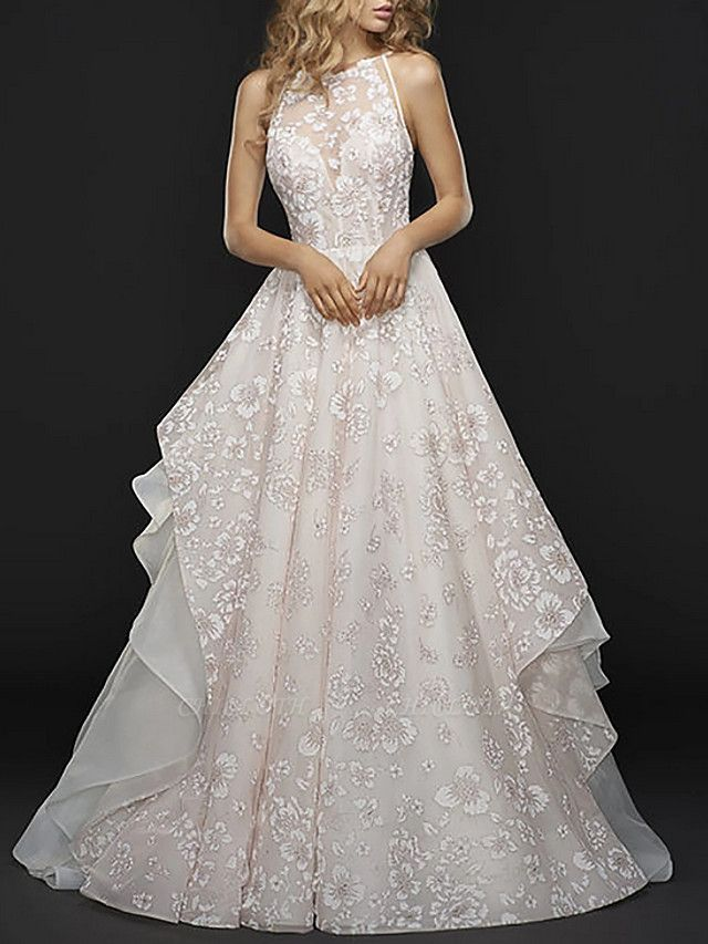 A-Line Wedding Dresses Jewel Neck Court Train Chiffon Tulle Spaghetti Strap