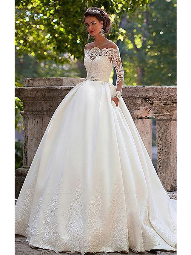 A-Line Wedding Dresses Off Shoulder Court Train Lace Long Sleeve Country Illusion Sleeve