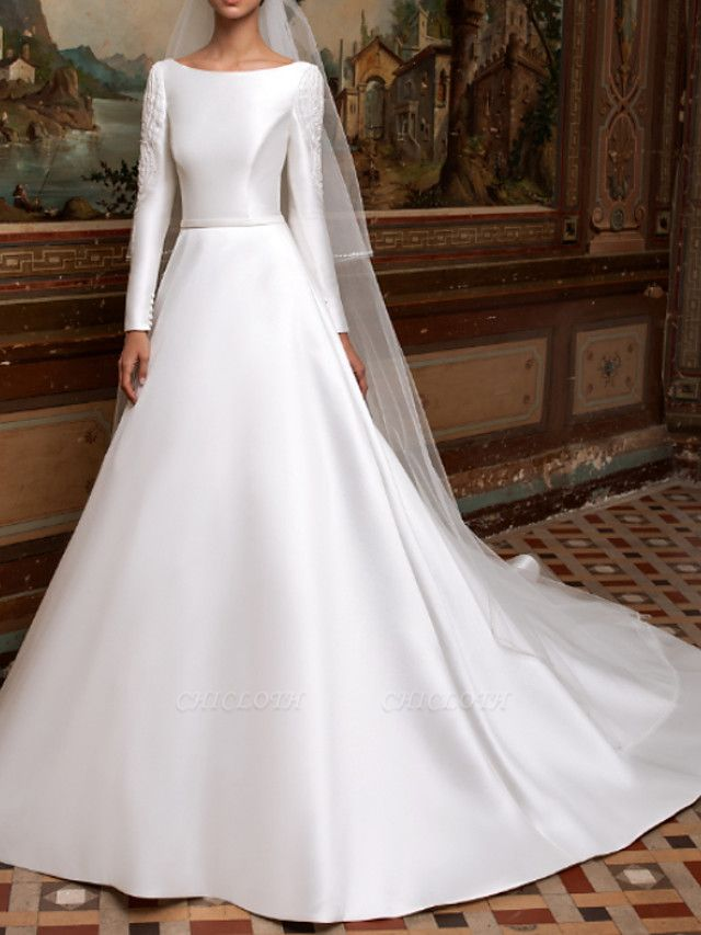 A-Line Wedding Dresses Bateau Neck Sweep \ Brush Train Lace Charmeuse Long Sleeve Formal Simple Plus Size Elegant