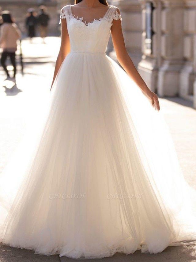 A-Line Wedding Dresses V Neck Sweep \ Brush Train Tulle Cap Sleeve Simple