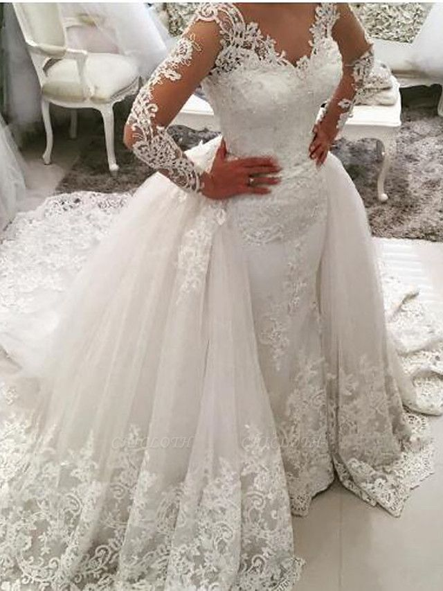 Ball Gown Mermaid \ Trumpet V Neck Sweep \ Brush Train Lace Tulle Lace Over Satin Long Sleeve Glamorous See-Through Illusion Sleeve Wedding Dresses