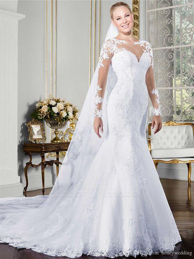Mermaid \ Trumpet Wedding Dresses Jewel Neck Court Train Lace Long Sleeve Formal Beach Sexy Illusion Sleeve