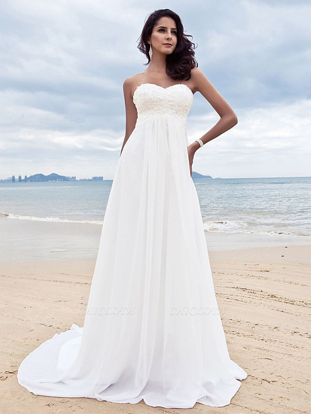 A-Line Wedding Dresses Sweetheart Neckline Court Train Chiffon Strapless Simple Beach Plus Size