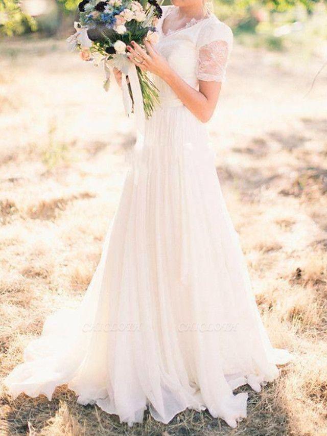A-Line Wedding Dresses V Neck Sweep \ Brush Train Chiffon Lace Taffeta Cap Sleeve Country Plus Size