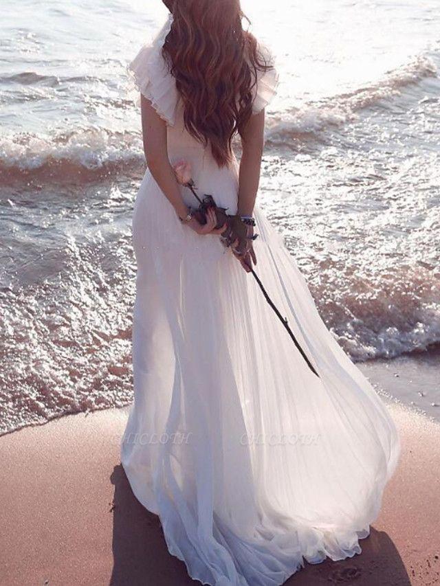 A-Line Wedding Dresses Plunging Neck Sweep \ Brush Train Chiffon Chiffon Over Satin Short Sleeve Country Beach Plus Size