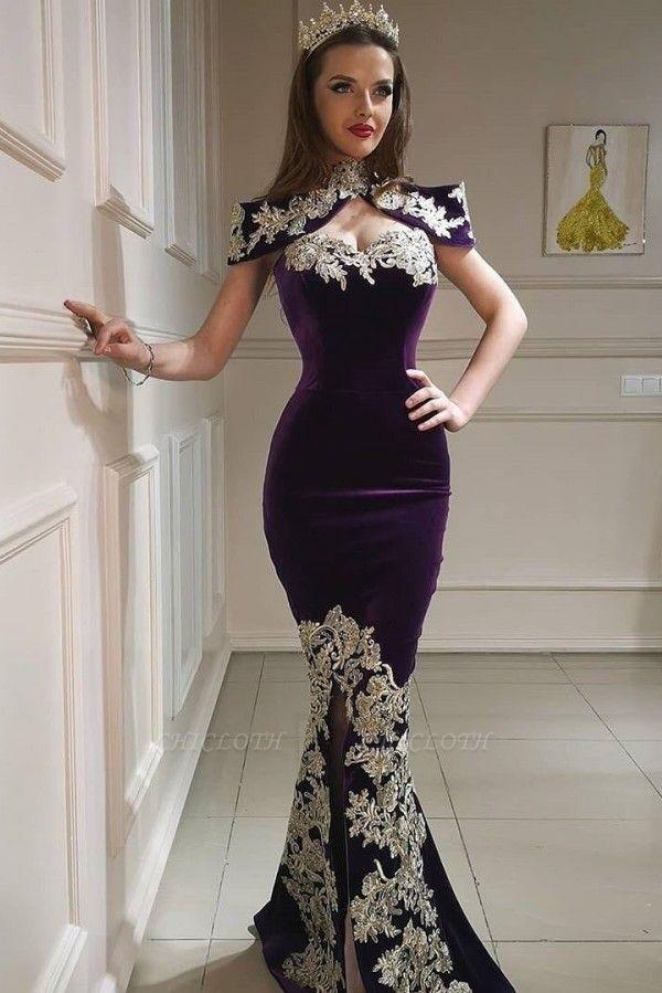 ZY097 Purple Evening Dresses Long Cheap   Velvet Prom Dresses Online