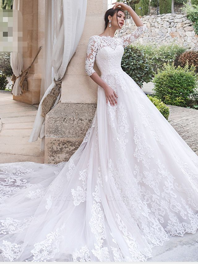 A-Line Off Shoulder Court Train Lace 3\4 Length Sleeve Country Illusion Sleeve Wedding Dresses
