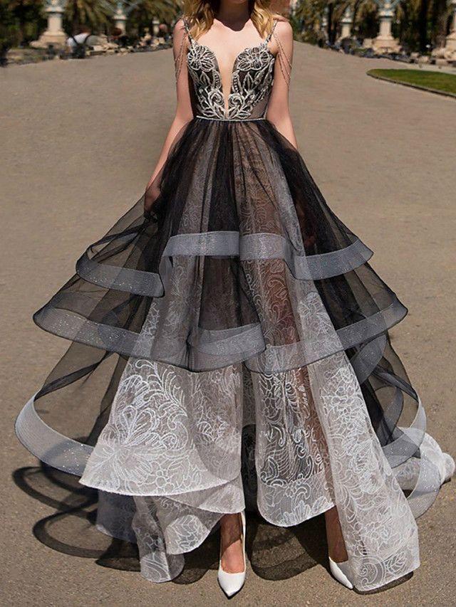 A-Line Wedding Dresses Strapless Floor Length Polyester Strapless Formal Plus Size Black Modern