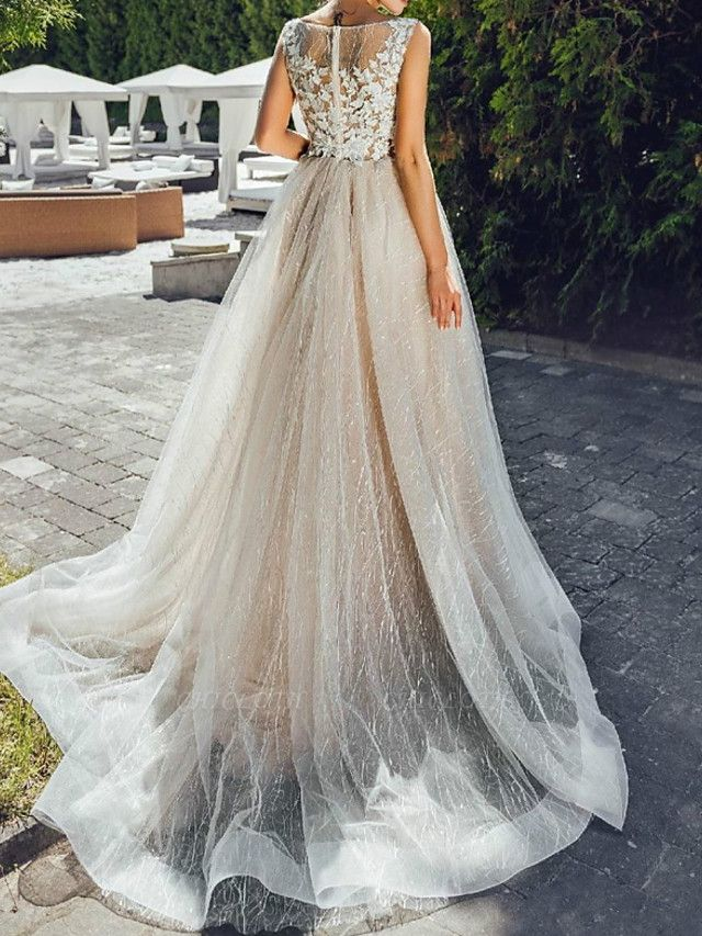 A-Line Wedding Dresses Jewel Neck Sweep \ Brush Train Lace Tulle Polyester Short Sleeve Formal Plus Size