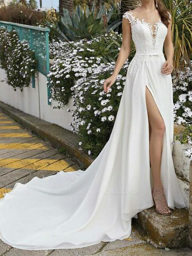 A-Line Wedding Dresses V Neck Sweep \ Brush Train Chiffon Lace Sleeveless Beach Sexy