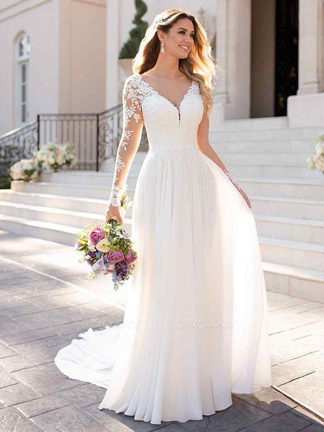 A-Line Wedding Dresses V Neck Chapel Train Chiffon Satin Long Sleeve Romantic Illusion Sleeve