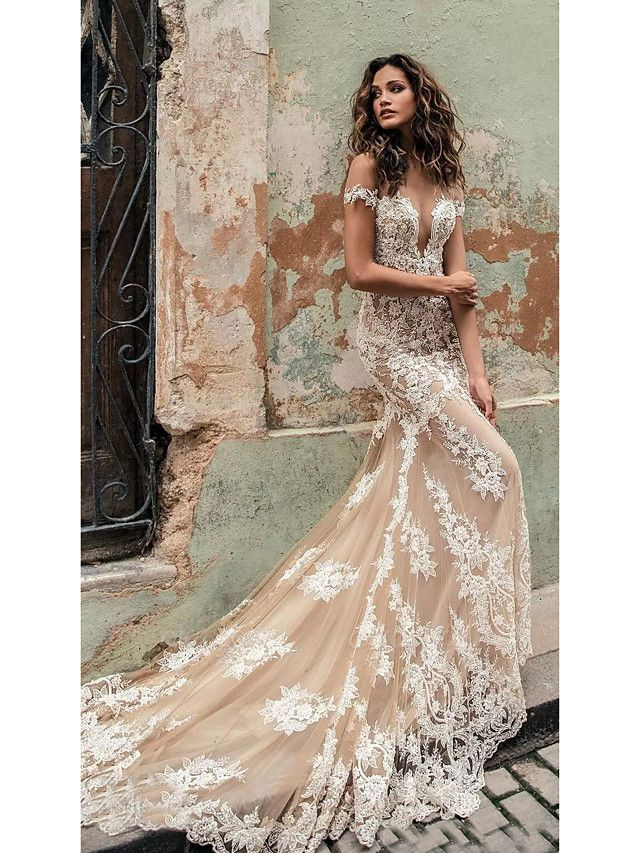 Mermaid \ Trumpet Off Shoulder Court Train Lace Regular Straps Country Formal Casual Wedding Dresses