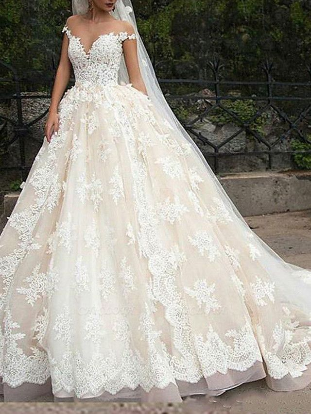 Ball Gown Off Shoulder Court Train Polyester Cap Sleeve Country Plus Size Wedding Dresses