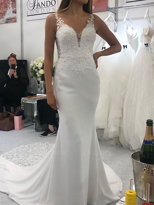 Mermaid \ Trumpet Spaghetti Strap Court Train Polyester Sleeveless Country Plus Size Wedding Dresses