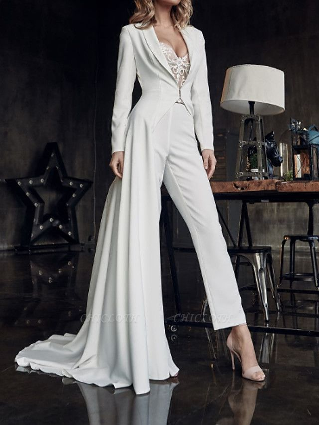 Two Piece Jumpsuits Wedding Dresses V Neck Sweep \ Brush Train Stretch Satin Long Sleeve Country Plus Size