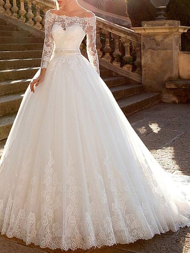 Ball Gown A-Line Wedding Dresses Off Shoulder Court Train Lace Tulle Long Sleeve Formal See-Through