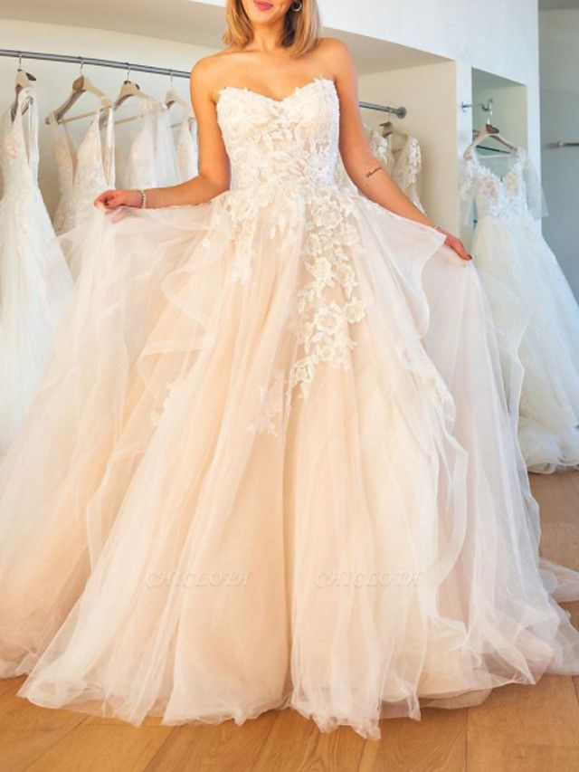 Ball Gown Wedding Dresses Strapless Sweep \ Brush Train Lace Tulle Sleeveless Formal Plus Size