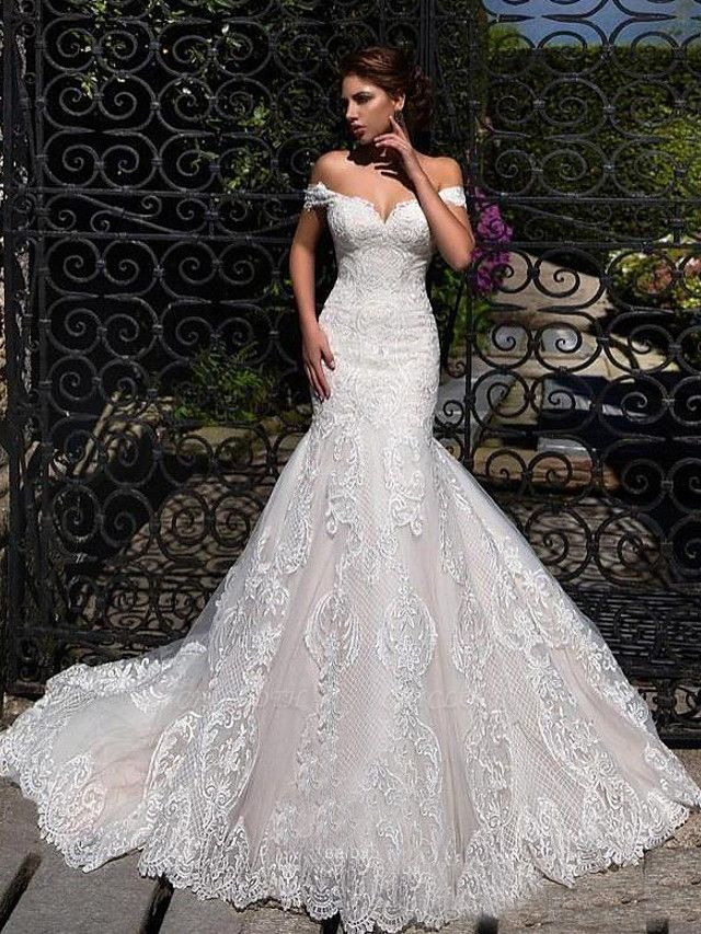 Mermaid \ Trumpet Off Shoulder Court Train Lace Strapless Formal Simple Casual Wedding Dresses