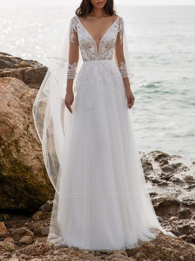 A-Line Wedding Dresses V Neck Sweep \ Brush Train Tulle 3\4 Length Sleeve Beach Illusion Sleeve