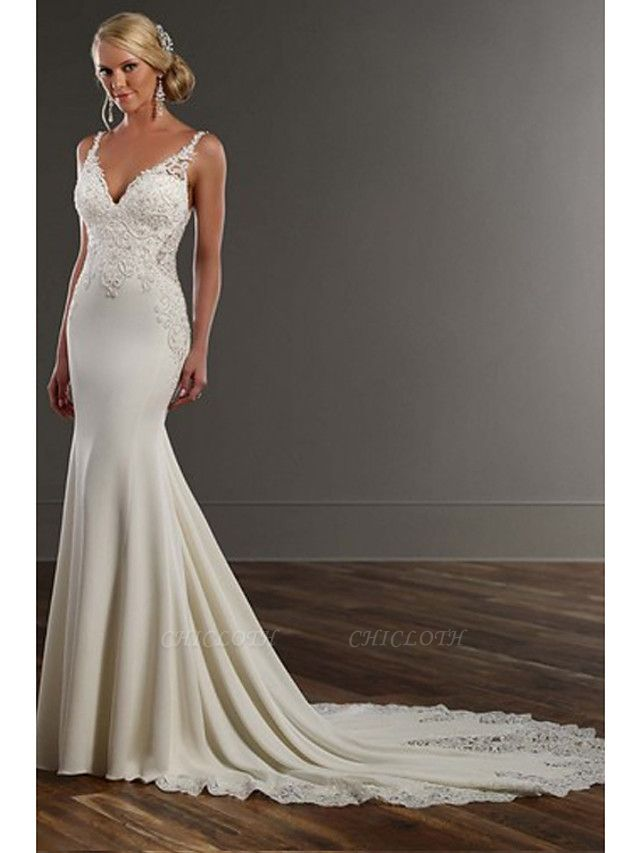 Mermaid \ Trumpet Wedding Dresses V Neck Chapel Train Lace Stretch Satin Spaghetti Strap See-Through Beautiful Back