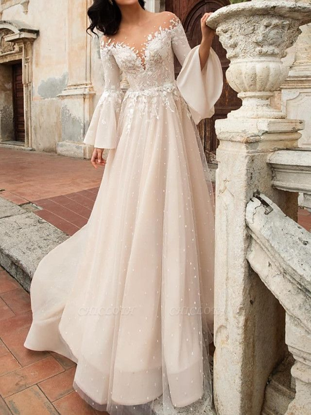 A-Line Wedding Dresses V Neck Court Train Chiffon Lace Tulle Long Sleeve Formal