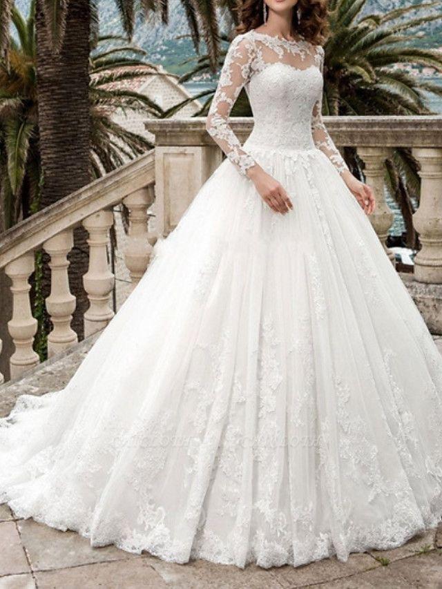 A-Line Wedding Dresses Jewel Neck Sweep \ Brush Train Tulle Long Sleeve Formal Illusion Sleeve