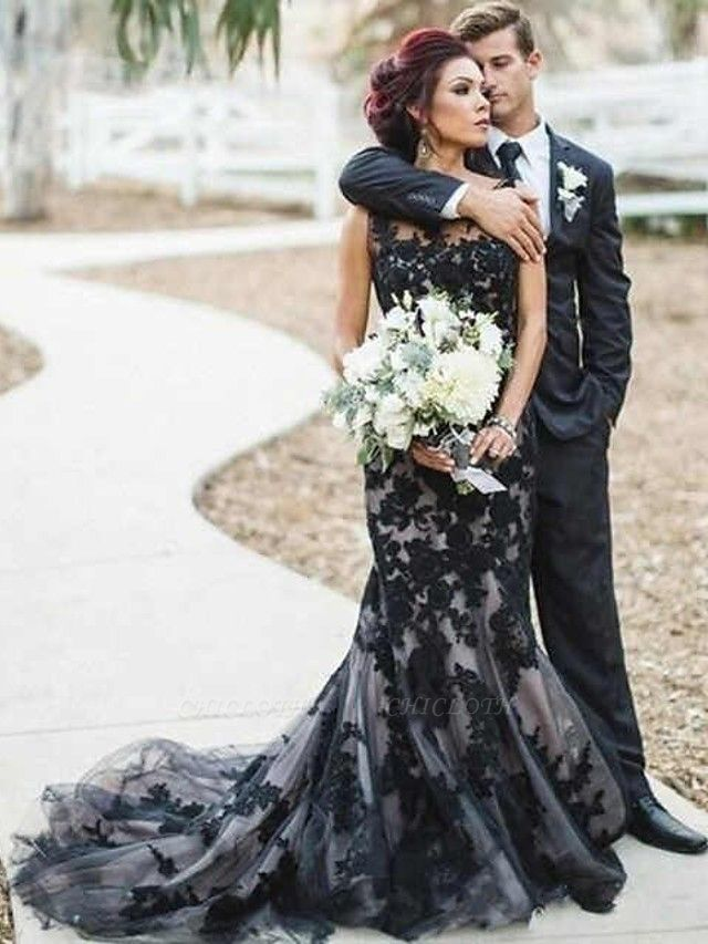 Mermaid \ Trumpet Jewel Neck Court Train Lace Satin Tulle Regular Straps Sexy Black Modern Wedding Dresses