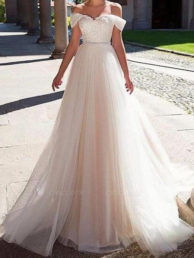 A-Line Wedding Dresses Off Shoulder Sweep \ Brush Train Lace Tulle Short Sleeve Formal
