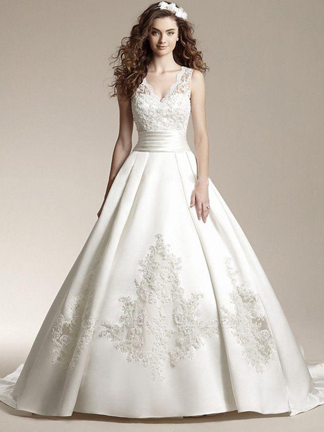 A-Line Wedding Dresses V Neck Court Train Lace Regular Straps