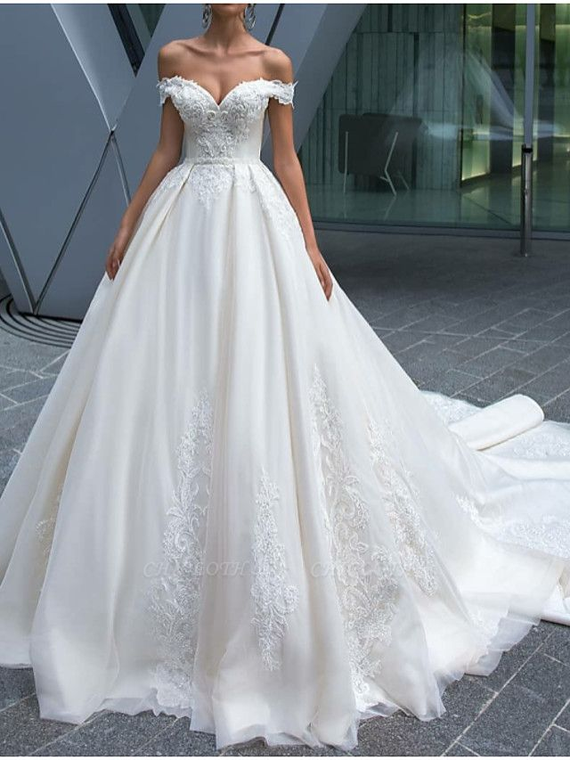 A-Line Wedding Dresses Off Shoulder Court Train Polyester Short Sleeve Country Glamorous Illusion Detail
